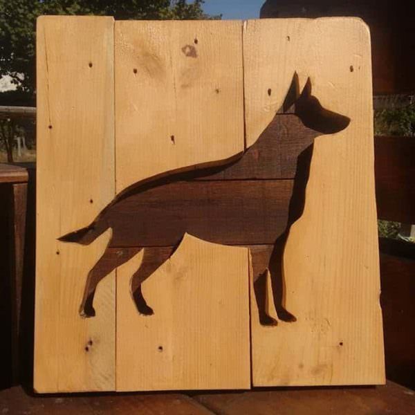 Cuadro Pastor Alemán / German Shepherd Picture With 3 Pallet Planks Pallet Wall Decor & Pallet Painting