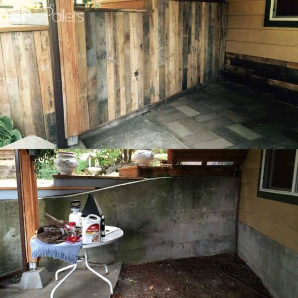 Outdoor Wall Covered With Pallets Pallet Walls & Pallet Doors