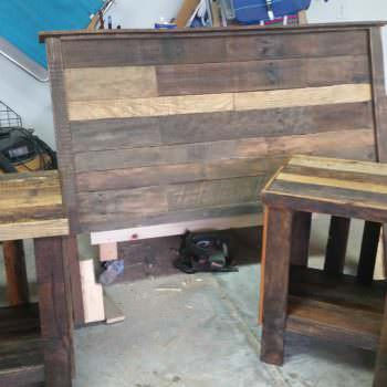 Pallet Bed Headboard & Nightstand