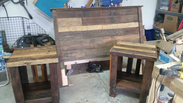 Pallet Bed Headboard Nightstand O 1001 Pallets