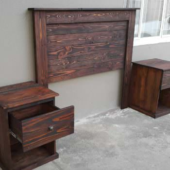 Pallet Headboard With Bedside Tables