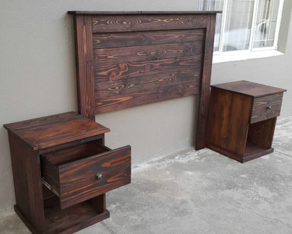 Pallet headboard with bedside tables 1001 pallets for Pallet bed frame with side tables