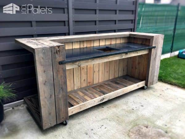 Etonnant Pallet Outdoor Kitchen Bar DIY Pallet Bars