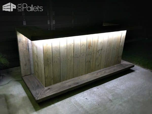 Pallet outdoor kitchen bar 1001 pallets for Diy outdoor bar top