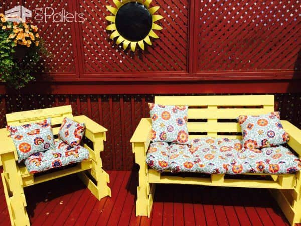 Patio Fire Pit Furniture Out Of 14 Repurposed Pallets