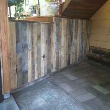 Outdoor Wall Covered With Pallets