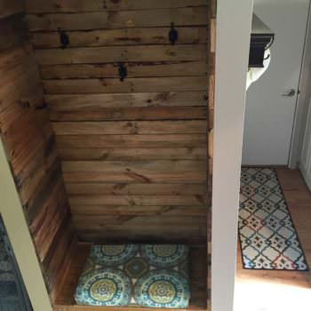 Pallet Wood Built In Bench & Wall