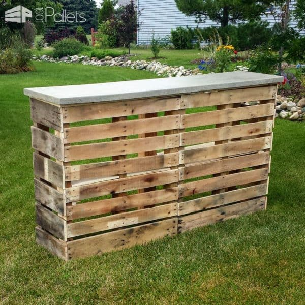 Wooden Pallet Bars add class with a concrete top for years of use.