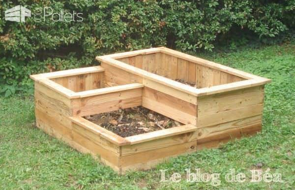 Carr potager en bois de palette square planter made of wooden pallet 1001 pallets for Potager carre bois