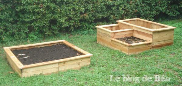 Carr potager en bois de palette square planter made of - Salon de jardin en palette en bois ...