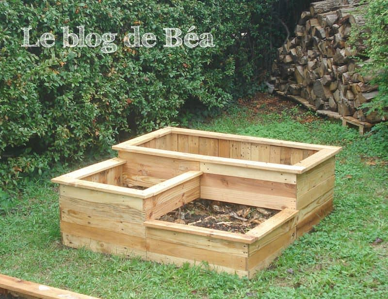 Carr potager en bois de palette square planter made of for Amenagement jardin palette