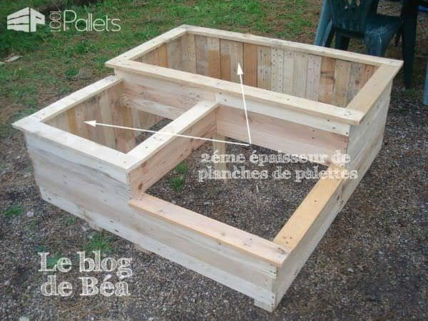 Carr potager en bois de palette square planter made of - Plan salon de jardin en palette ...