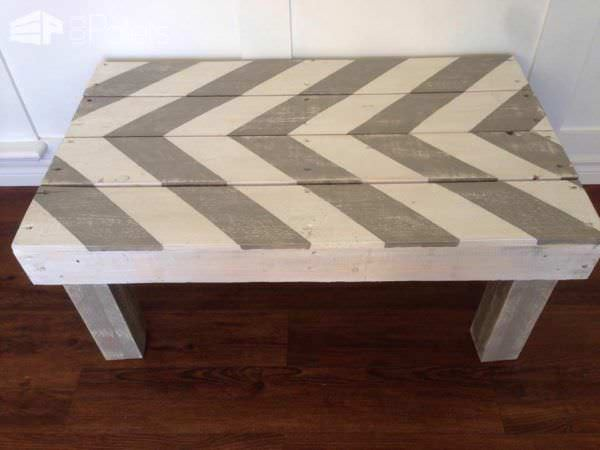 Chevron Grey & White Pallet Coffe Table Pallet Coffee Tables