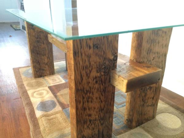 Glass Table Top Made From Large Crate Lumber Pallet Coffee Tables