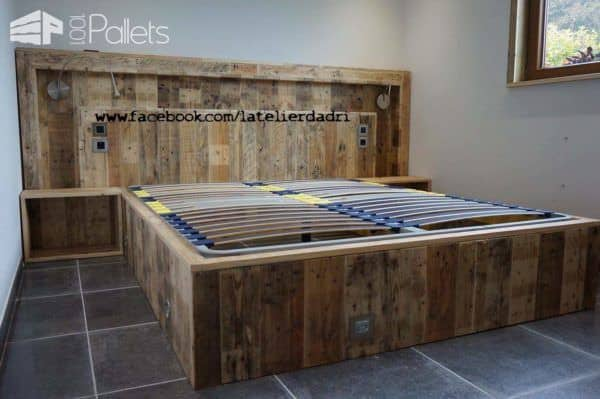 Modern Pallet Bed Headboard With Lights Motion Sensor O 1001 Pallets