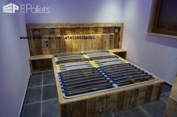 Modern Pallet Bed & Headboard With Lights & Motion Sensor DIY Pallet Bed Headboard & Frame
