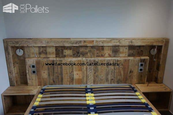 Modern Pallet Bed & Headboard With Lights & Motion Sensor DIY Pallet Bed, Pallet Headboard & Frame
