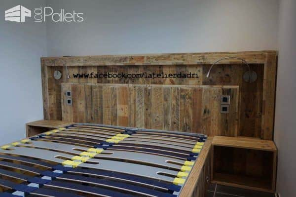 Modern Pallet Bed & Headboard With Lights & Motion Sensor DIY Pallet Bedroom - Pallet Bed Frames & Pallet Headboards