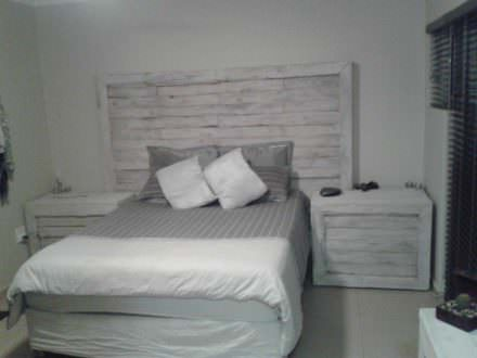 Pallet Bed Headboard & Side Tables