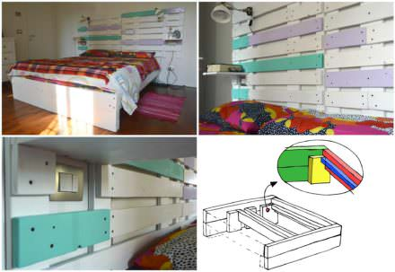 Pallet Bed & Headboard With Scaffold & Pallet Boards