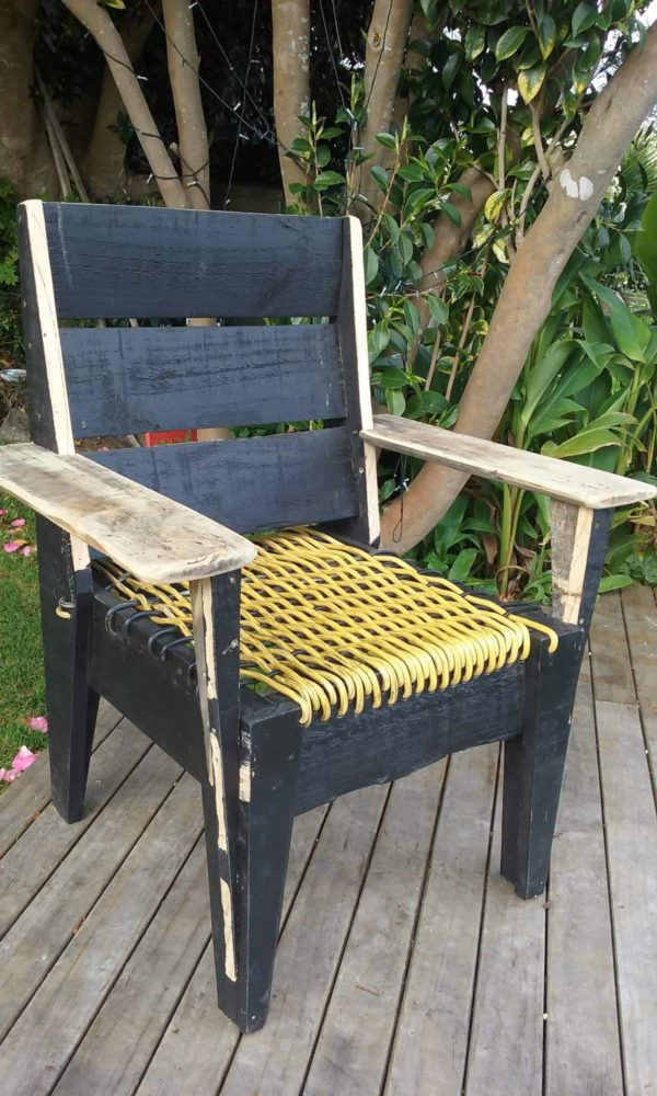 Pallet Chair With Woven Power Cord Seat Pallet Benches, Pallet Chairs & Stools