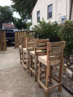 Pallet High Bar Stools Pallet Benches, Pallet Chairs & Stools