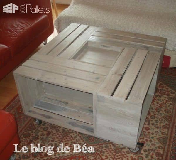Table basse bar en bois de palettes pallet coffee table for Table en palette de bois