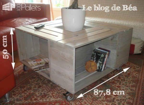 Table basse bar en bois de palettes pallet coffee table for Table basse bois relevable