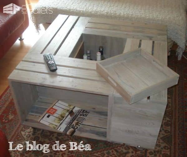 Table Basse Bar En Bois De Palettes / Pallet Coffee Table With Bar Pallet Coffee Tables