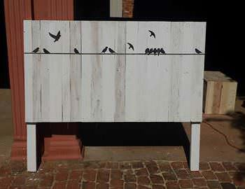 Whitewashed Headboard With Stenciling