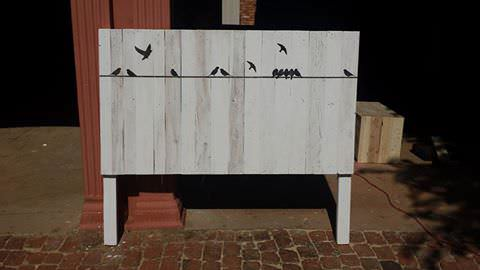 Whitewashed Headboard With Stenciling DIY Pallet Bedroom - Pallet Bed Frames & Pallet Headboards