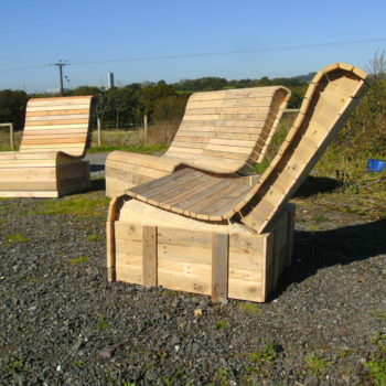 Pallet Wood Easy Lounger 3 Piece Suite