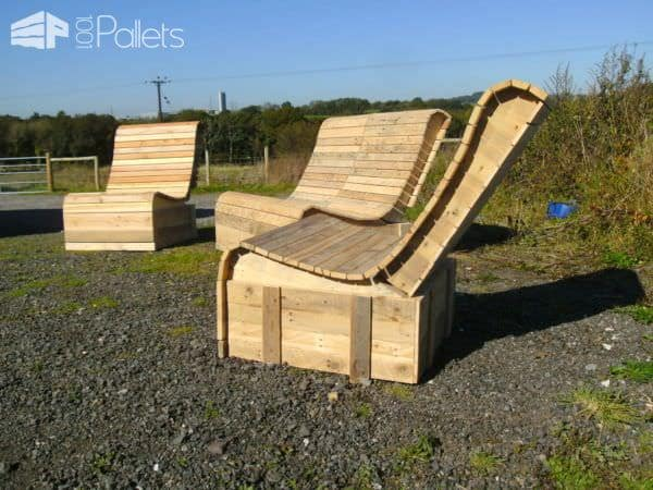 Pallet Wood Easy Lounger 3 Piece Suite Pallet Benches, Pallet Chairs & Pallet Stools