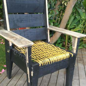 Pallet Chair With Woven Power Cord Seat
