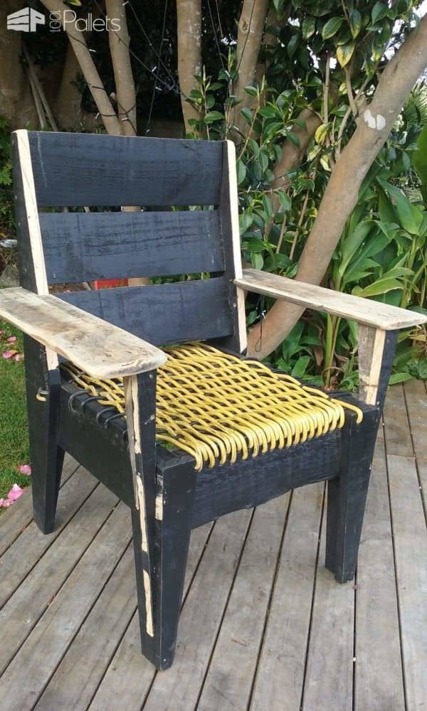 Pallet Chair With Woven Power Cord Seat Pallet Benches, Pallet Chairs & Pallet Stools
