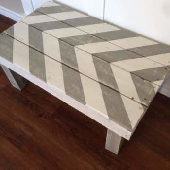 Chevron Grey & White Pallet Coffe Table