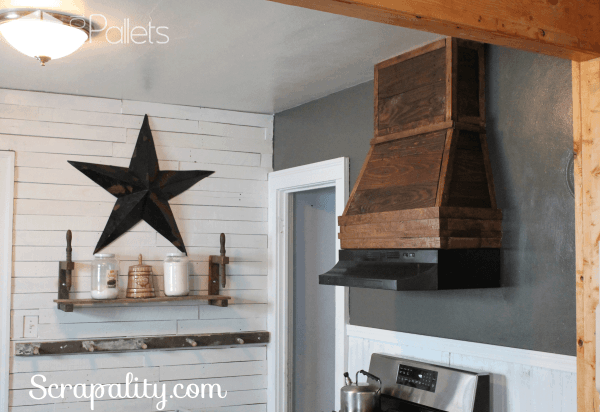 Pallet Wood Adds A Rustic Style To Kitchen Hood Pallet Walls & Pallet Doors