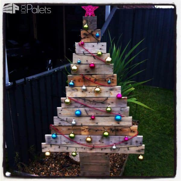50 pallet christmas trees holiday decorations ideas fun pallet crafts for kids - Pallet Christmas Decoration Ideas