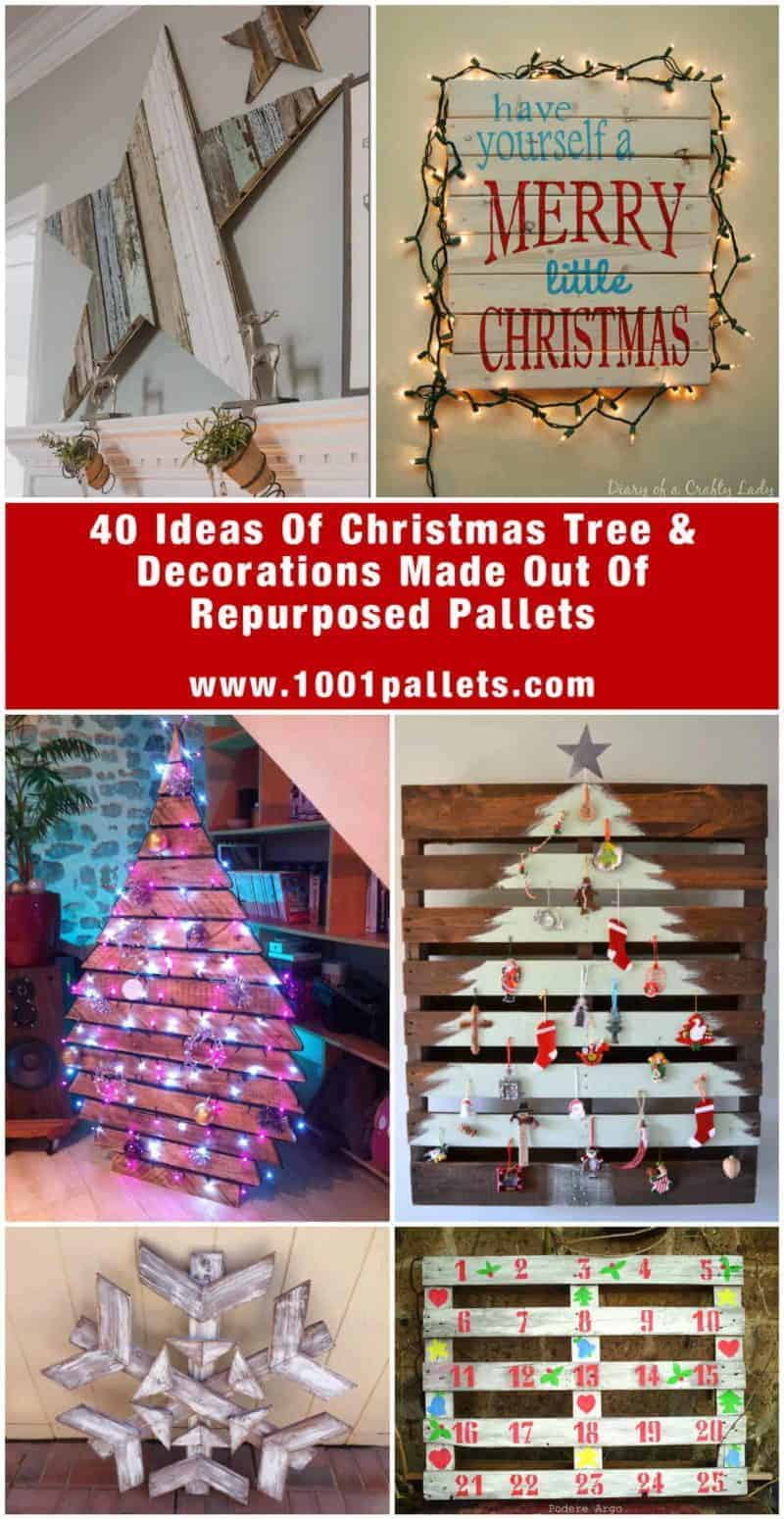 65 pallet christmas trees holiday pallet decorations ideas 1001 pallets - Pallet Christmas Decoration Ideas