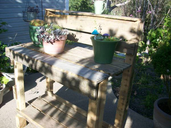 Easy Outdoor Pallet Potting Bench Lounges & Garden Sets