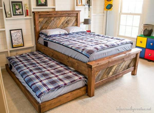 Farmhouse Pallet Bed With Rolling Trundle Pallet Beds, Pallet Headboards & Frames