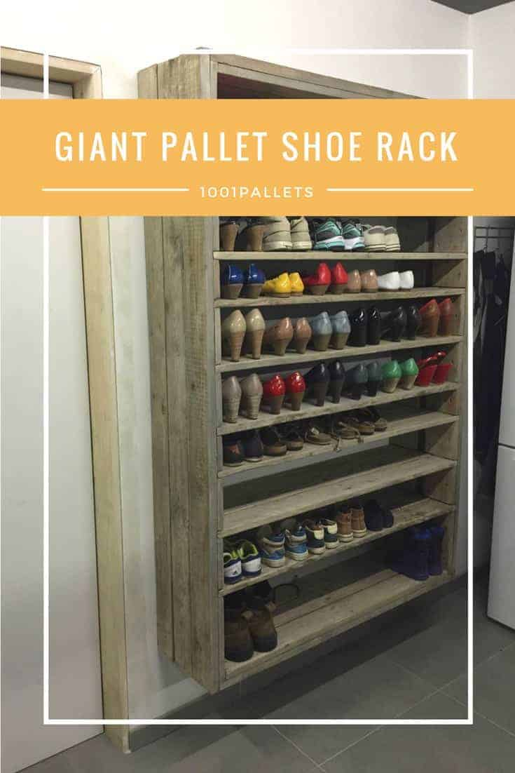 Giant Shoe Rack Made Out Of Discarded Pallets 1001 Pallets