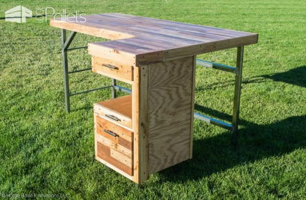 Industrial Standing Executive Desk From Repurposed Pallets Pallet Desks & Pallet Tables