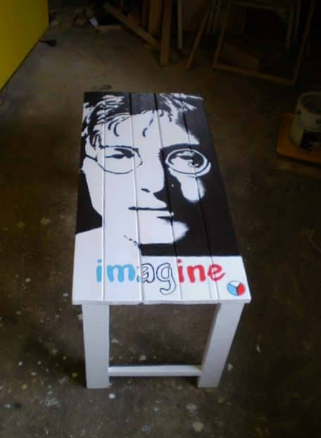 Memorial Pallet Table featuring John Lennon - hand-painted design.