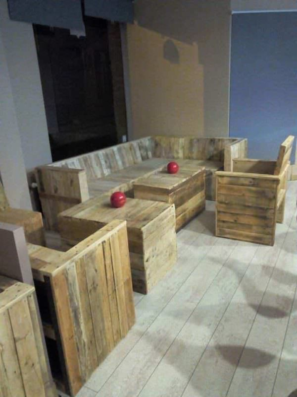 Pallet Furniture Made for a Cafe Pallet Benches, Pallet Chairs & Stools Pallet Store, Bar & Restaurant Decorations