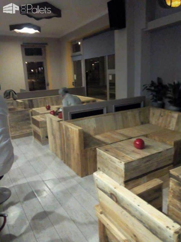 Pallet Furniture Made for a Cafe Pallet Benches, Pallet Chairs & StoolsPallet Store, Bar & Restaurant Decorations