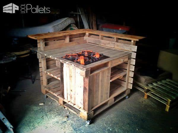 Pallet mobile kitchen island 1001 pallets - Mobile kitchen island plans ...