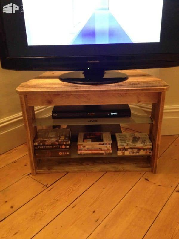 Pallet TV Stand With Glass Shelves Pallet TV Stand & Rack