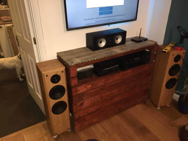 Radiator Cover Doubled up as an Entertainment Centre Pallet TV Stand & Rack
