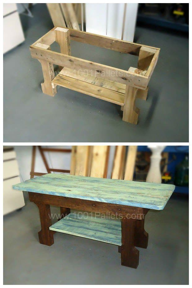 Shabby chic pallet coffee table pallet ideas 1001 pallets for Table cuisine palette